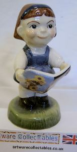 Carlton Ware Kids - Reading Girl - Millenium Edition - 589 - Medium Brown Hair